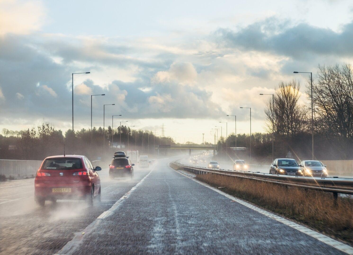 Wet British motorway traffic