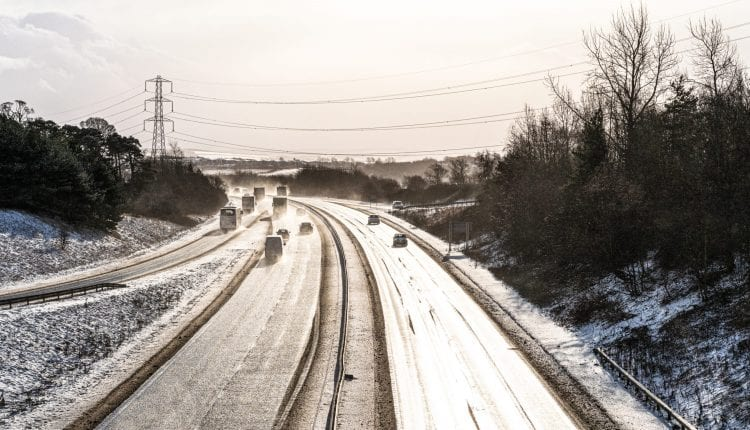 British dual carriageway in winter