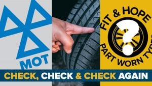 Check air pressure, condition, tread depth; ensure MoT is valid; and be aware of options to buy new not part worn tyres